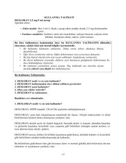 KULLANMA TALİMATI DESLORAN 2,5 mg/5 ml şurup