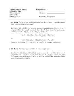 MATB413 Reel Analiz İsim-Soyisim: 2015