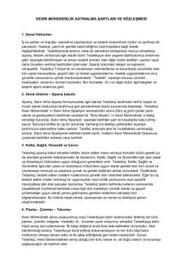 kesir mühendislik satınalma şartları ve sözleşmesi