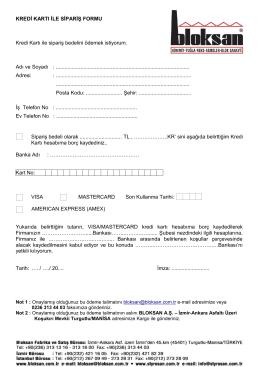 KREDİ KARTI İLE SİPARİŞ FORMU Kredi Kartı ile sipariş