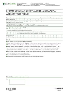 Bonus Aktarım Formu