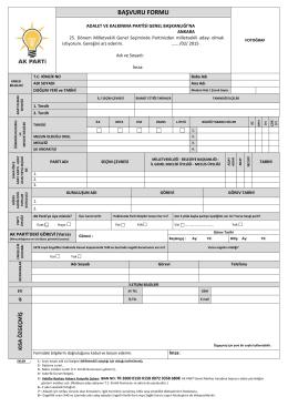 Ak Parti Milletvekili Adaylığı başvuru formu