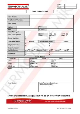LÜTFEN EKSIKSIZ DOLDURARAK (0232) 877 06