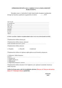 Üyelik Formu PDF