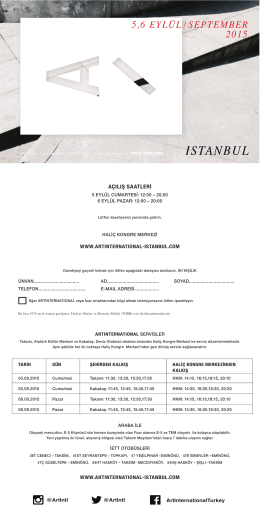 5,6 EYLÜL / SEPTEMBER 2015 - ARTINTERNATIONAL