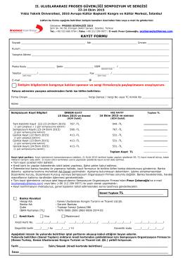 kayıt formu - Proses Güvenliği