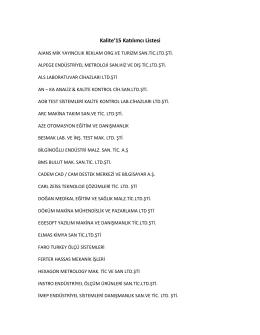 Kalite`15 Katılımcı Listesi