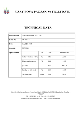 UZAY BOYA PAZ.SAN. ve TIC.LTD.STI. TECHNICAL DATA