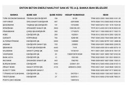 ENTON BETON ENERJİ NAKLİYAT SAN.VE TİC.A.Ş. BANKA IBAN