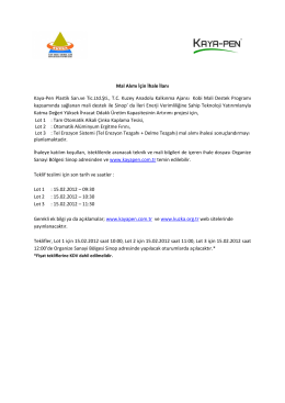 Mal Alımı İçin İhale İlanı Kaya-Pen Plastik San.ve Tic.Ltd.Şti