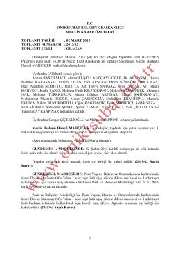 1 tc onikişubat belediye başkanlığı meclis karar özetleri toplantı tarihi