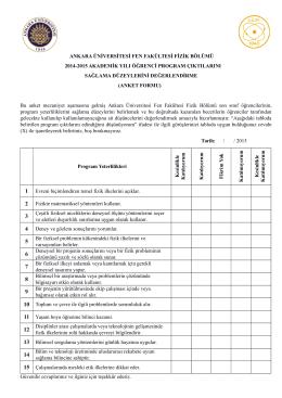 fedek anket formu fizik bölümü - Fen Fakültesi Fizik Bölümü