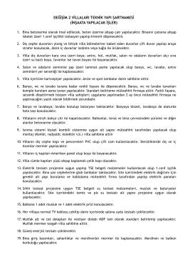 DEĞİŞİM 2 VİLLALARI TEKNİK YAPI ŞARTNAMESİ