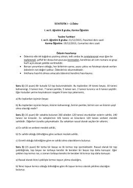 İSTATİSTİK I – 2.Ödev I. ve II. öğretim B grubu, Karma Öğretim