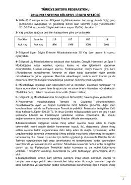 türkiye sutopu federasyonu 2014-2015 sezonu bölgesel ligler statüsü