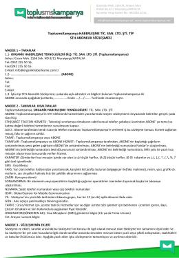 Abonelik Sözleşmesi - TopluSmsKampanya.NET