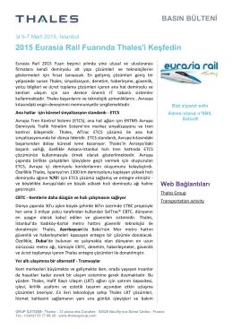 2015 Eurasia Rail Fuarında Thales`i Keşfedin