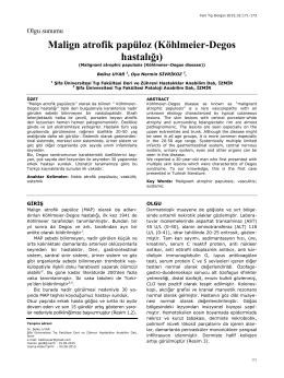 Malign atrofik papüloz (Köhlmeier-Degos hastalığı)