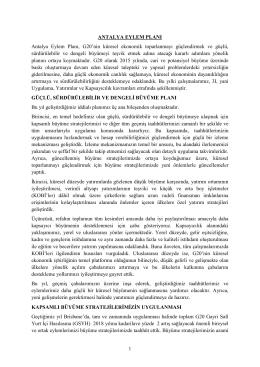 1 ANTALYA EYLEM PLANI Antalya Eylem Planı, G20`nin küresel