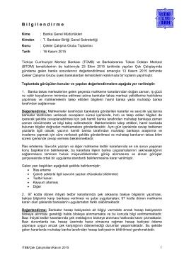 13.11.2015 Çekler Çalışma Grubu Toplantısı Bilgilendirme Notu