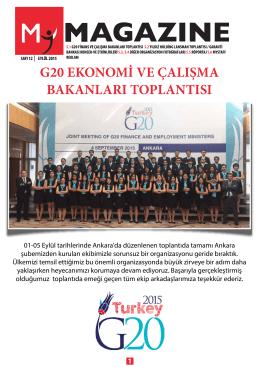 G20 EKONOMİ VE ÇALI MA BAKANLARI TOPLANTISI
