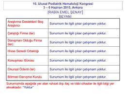 [RABİA EMEL ŞENAY] BEYANI - Türk Pediatrik Hematoloji Derneği