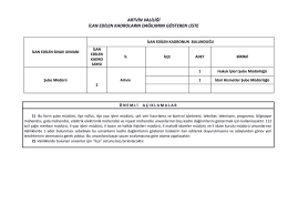 ilan edilen kadroların dağılımını gösterir liste