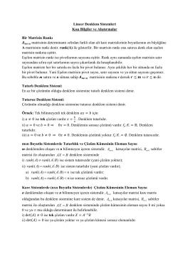 Lineer Denklem Sistemleri Kısa Bilgiler ve Alıştırmalar Bir Matrisin