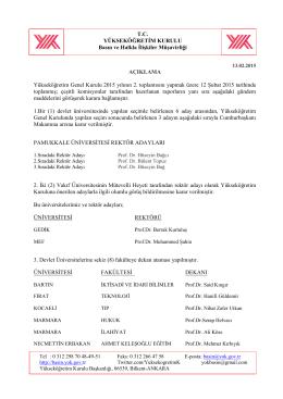 12 Şubat 2015 Tarihli Yükseköğretim Genel Kurulu Kararı İçin