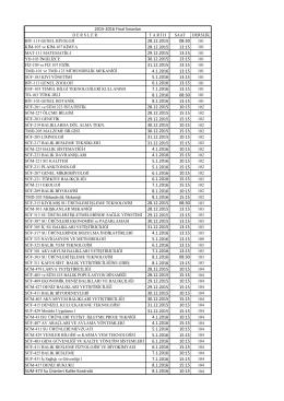 2015-2016 güz yarı yılı final programı