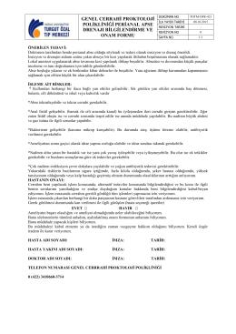 TOTM-OFR-421Genel Cerrahi Proktoloji Polikliniği Perianal Apse