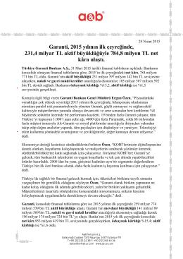 31 Mart 2015 Mali Tablolara İlişkin Basın