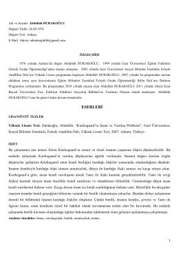 Abdullah Durakoglu CV - Sosyoloji Bölümü