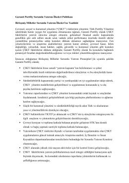 Garanti Portföy Sorumlu Yatırım İlkeleri Politikası Birleşmiş Milletler