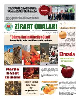 Ekim 2015 Gazete - Türkiye Ziraat Odaları Birliği
