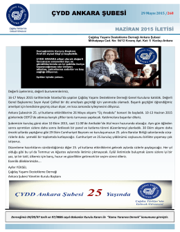 Haziran 2015 İletisi - ÇYDD Ankara Şubesi
