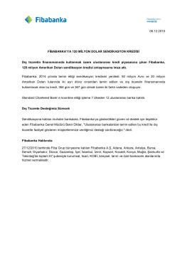 Fibabanka`ya 120 Milyon Dolar Sendikasyon Kredisi
