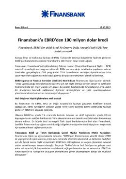 Finansbank`a EBRD`den 100 milyon dolar kredi