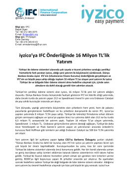 iyzico`ya IFC Önderliğinde 16 Milyon TL`lik Yatırım