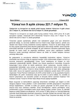 Yünsa`nın 9 aylık cirosu 221.7 milyon TL