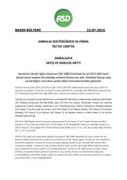 AMBALAJ SEKTÖRÜNDEN 56 FİRMA İSO İLK 1000`DE