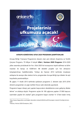 AVRUPA KOMİSYONU UFUK 2020 PROGRAMI ŞAMPİYONLARI