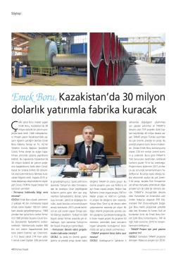 Emek Boru,Kazakistan`da 30 milyon dolarlık yatırımla fabrika kuracak