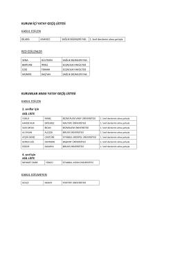 kurum içi yatay geçiş listesi kabul edilen red edilenler kurumlar arası