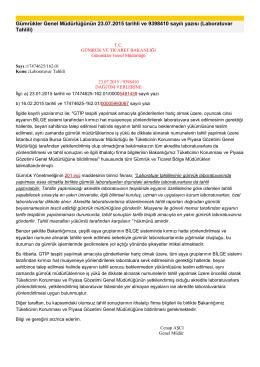 Gümrükler Genel Müdürlüğünün 23.07.2015 tarihli ve 9398410