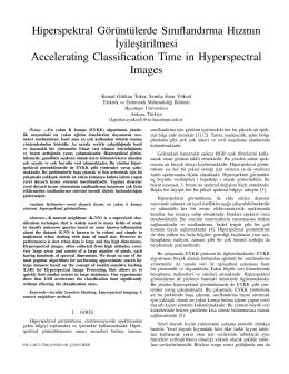 Hiperspektral Görüntülerde Sınıflandırma Hızının ˙Iyilestirilmesi