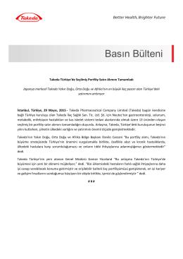 29 Mayıs 2015 - Takeda Türkiye`de Seçilmiş Portföy Satın Alımını