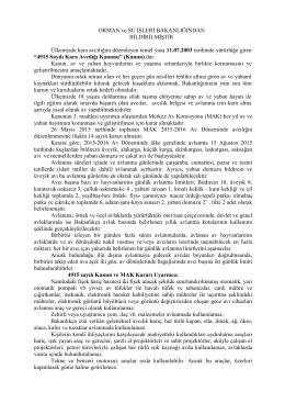 Basın duyurusu 2015-2016 Av Sezonu