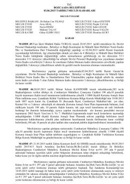 03.06.2015 Meclis Karar - Bozcaada Belediye Başkanlığı