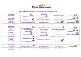 2015 temmuz-ağustos yaz okulu eğitim programı